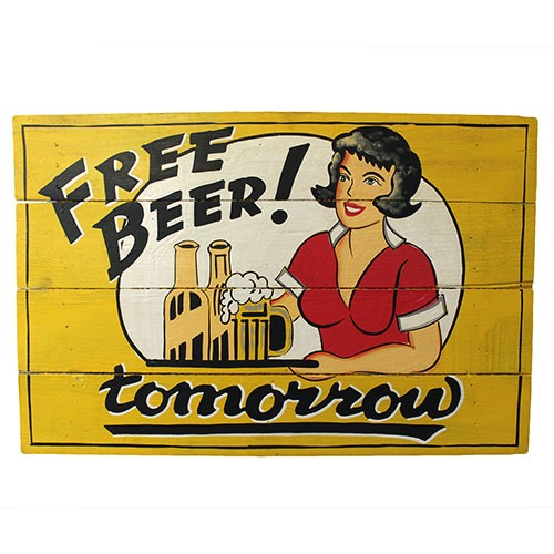 Rough Wooden Sign - Free Beer