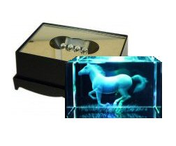 Running Horse Crystal Laser Block & Coloured LED Display Stand