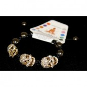 Shamballa Bracelet with Three Gold Skulls