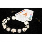 Shamballa Bracelet with Ivory & Crystal Beads