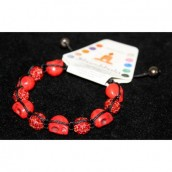Shamballa Bracelet with Ruby & Blood Beads