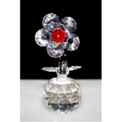 Single Crystal Flower on Crystal - Red