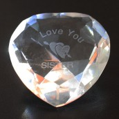 """I Love You Sister"" & Heart Clear Crystal Heart"