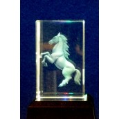 Standing Horse Crystal Laser Block 50mm x 50mm x 80mm