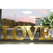 Standing Wooden Sign - Love - Gold