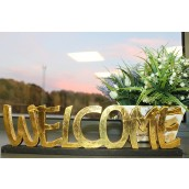 Standing Wooden Sign - Welcome - Gold