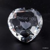 """Thank You"" Clear Crystal Heart"