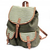 Traveller's Backpack - 2 Pocket Olive Stripe