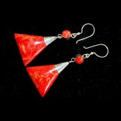Triangle Double Drop Coral Earrings