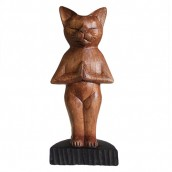 Handcarved Yoga Cat - Standing
